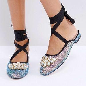 ASOS Embellished Jewel Glitter Ballet Flat